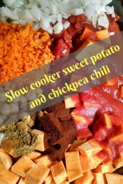 Slow cooker sweet potato and chickpea chili